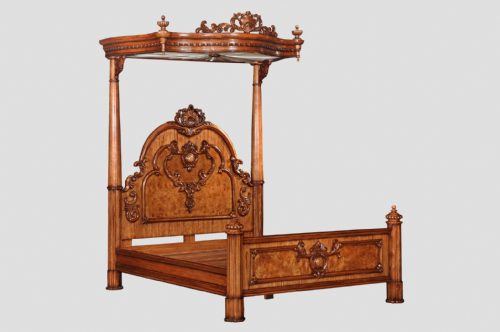 Four Poster Half Tester Bed in Burr Walnut